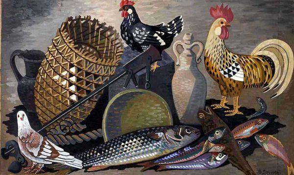 Natura morta con galli e pesci
