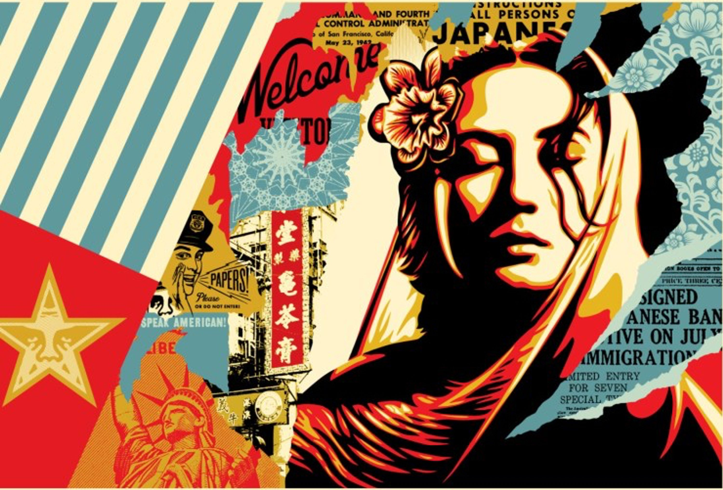 Welcome Visitor by Shepard Fairey, cookie & cream